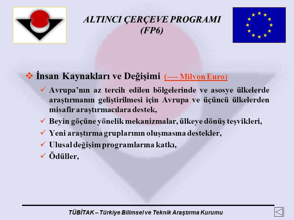 ALTINCI ÇERÇEVE PROGRAMI (FP6) TÜBİTAK – Türkiye Bilimsel ve Teknik Araştırma Kurumu  İnsan Kaynakları ve Değişimi (---- Milyon Euro) Avrupa'nın az t