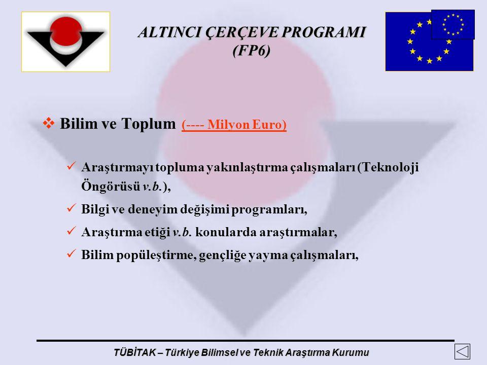 ALTINCI ÇERÇEVE PROGRAMI (FP6) TÜBİTAK – Türkiye Bilimsel ve Teknik Araştırma Kurumu  Bilim ve Toplum (---- Milyon Euro) Araştırmayı topluma yakınlaş
