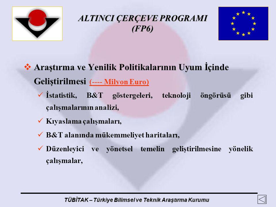 ALTINCI ÇERÇEVE PROGRAMI (FP6) TÜBİTAK – Türkiye Bilimsel ve Teknik Araştırma Kurumu  Araştırma ve Yenilik Politikalarının Uyum İçinde Geliştirilmesi
