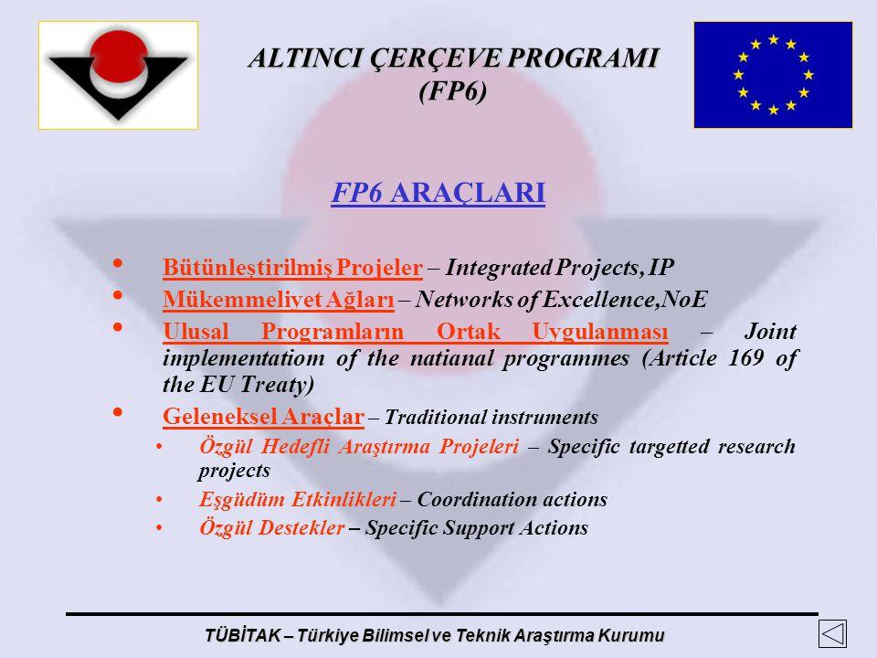 ALTINCI ÇERÇEVE PROGRAMI (FP6) TÜBİTAK – Türkiye Bilimsel ve Teknik Araştırma Kurumu FP6 ARAÇLARI Bütünleştirilmiş Projeler – Integrated Projects, IP