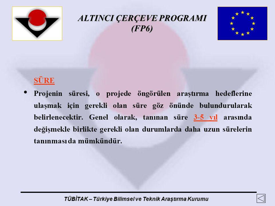 ALTINCI ÇERÇEVE PROGRAMI (FP6) TÜBİTAK – Türkiye Bilimsel ve Teknik Araştırma Kurumu SÜRE Projenin süresi, o projede öngörülen araştırma hedeflerine u