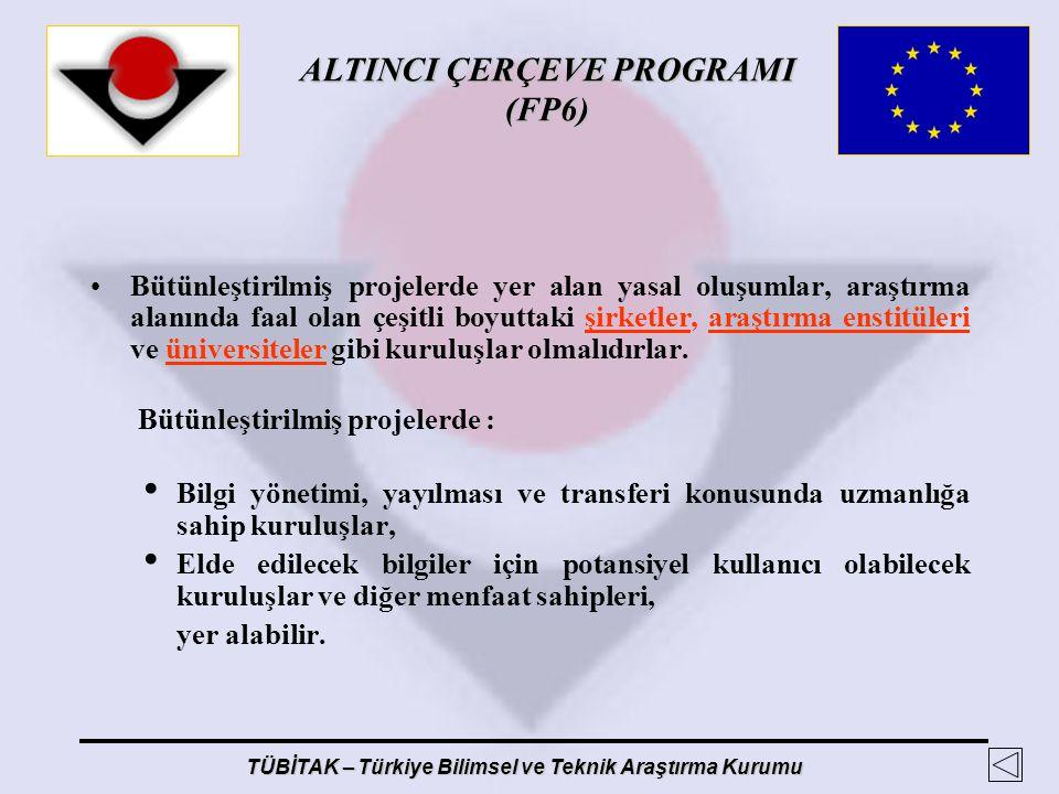 ALTINCI ÇERÇEVE PROGRAMI (FP6) TÜBİTAK – Türkiye Bilimsel ve Teknik Araştırma Kurumu Bütünleştirilmiş projelerde yer alan yasal oluşumlar, araştırma a