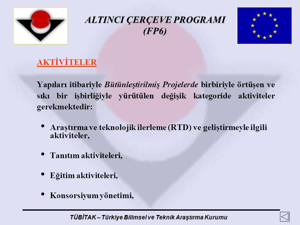 ALTINCI ÇERÇEVE PROGRAMI (FP6) TÜBİTAK – Türkiye Bilimsel ve Teknik Araştırma Kurumu AKTİVİTELER Yapıları itibariyle Bütünleştirilmiş Projelerde birbi
