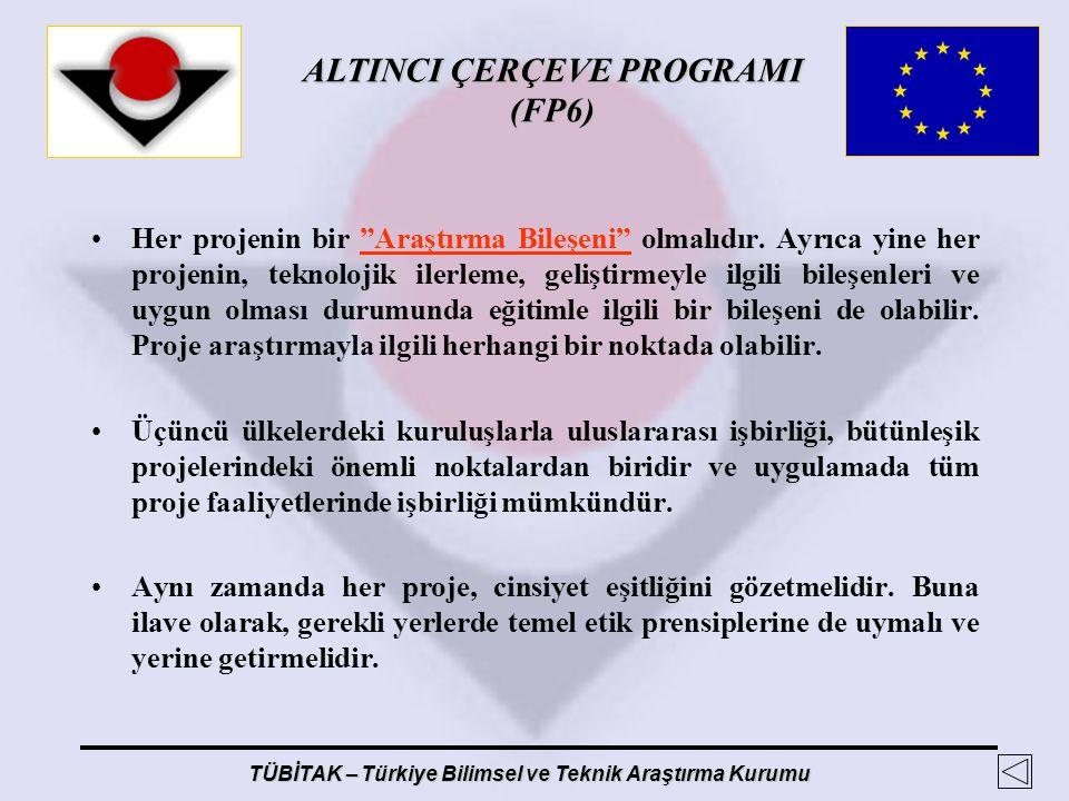 """ALTINCI ÇERÇEVE PROGRAMI (FP6) TÜBİTAK – Türkiye Bilimsel ve Teknik Araştırma Kurumu Her projenin bir """"Araştırma Bileşeni"""" olmalıdır. Ayrıca yine her"""