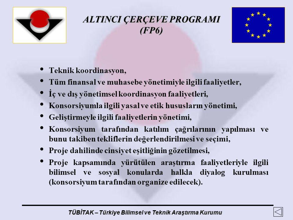 ALTINCI ÇERÇEVE PROGRAMI (FP6) TÜBİTAK – Türkiye Bilimsel ve Teknik Araştırma Kurumu Teknik koordinasyon, Tüm finansal ve muhasebe yönetimiyle ilgili