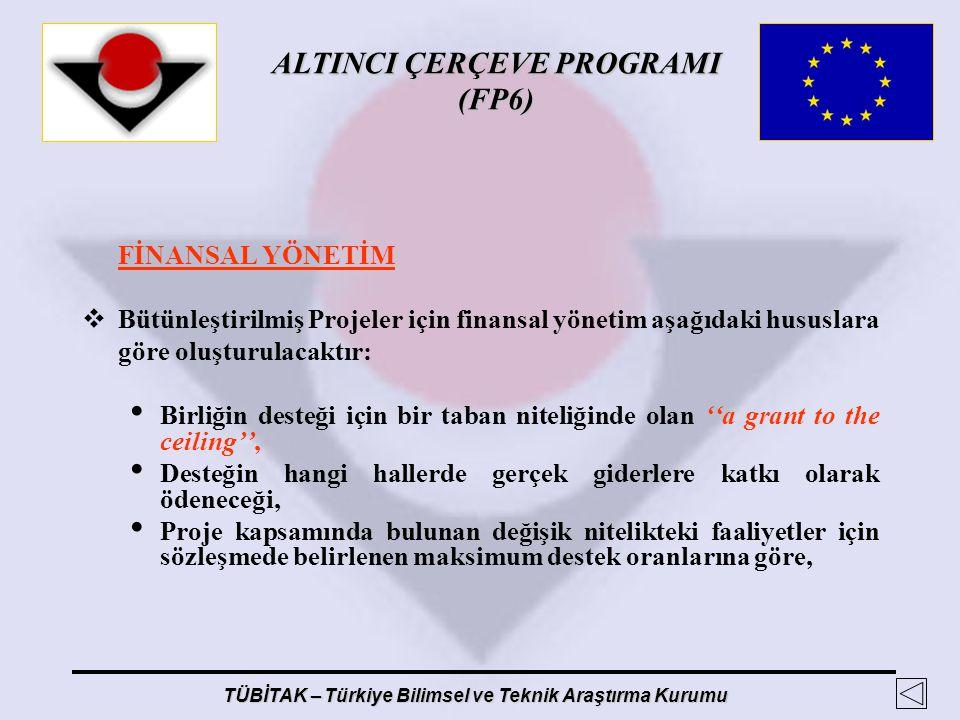 ALTINCI ÇERÇEVE PROGRAMI (FP6) TÜBİTAK – Türkiye Bilimsel ve Teknik Araştırma Kurumu FİNANSAL YÖNETİM  Bütünleştirilmiş Projeler için finansal yöneti