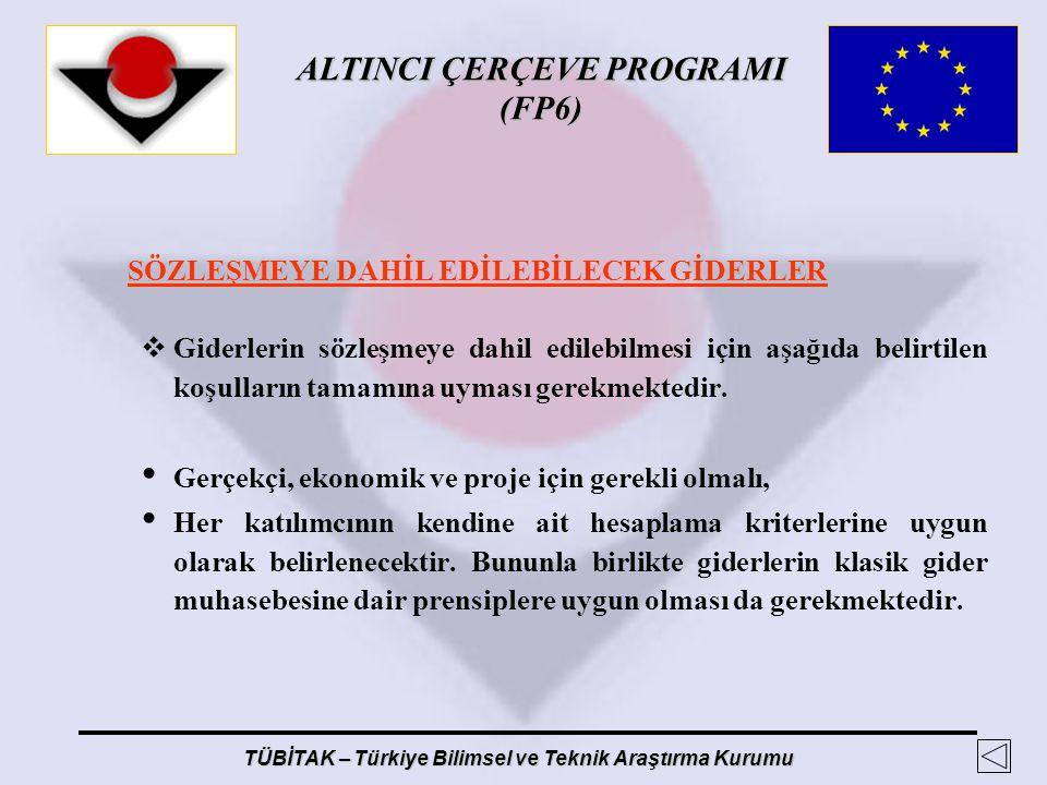 ALTINCI ÇERÇEVE PROGRAMI (FP6) TÜBİTAK – Türkiye Bilimsel ve Teknik Araştırma Kurumu SÖZLEŞMEYE DAHİL EDİLEBİLECEK GİDERLER  Giderlerin sözleşmeye da