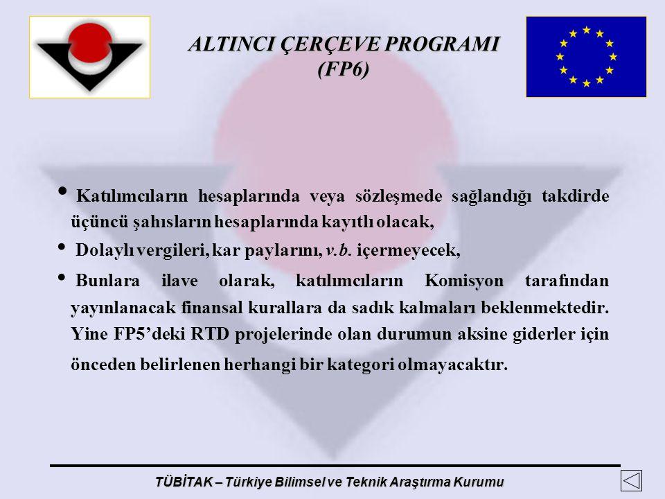 ALTINCI ÇERÇEVE PROGRAMI (FP6) TÜBİTAK – Türkiye Bilimsel ve Teknik Araştırma Kurumu Katılımcıların hesaplarında veya sözleşmede sağlandığı takdirde ü
