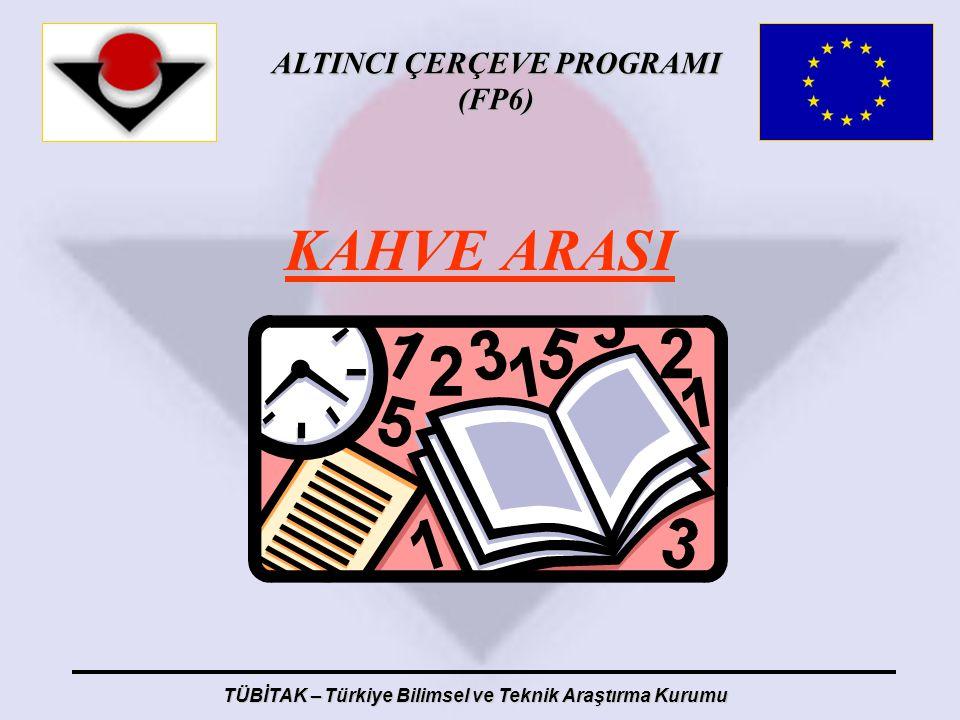 ALTINCI ÇERÇEVE PROGRAMI (FP6) TÜBİTAK – Türkiye Bilimsel ve Teknik Araştırma Kurumu KAHVE ARASI
