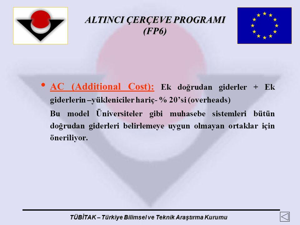 ALTINCI ÇERÇEVE PROGRAMI (FP6) TÜBİTAK – Türkiye Bilimsel ve Teknik Araştırma Kurumu AC (Additional Cost): Ek doğrudan giderler + Ek giderlerin –yükle
