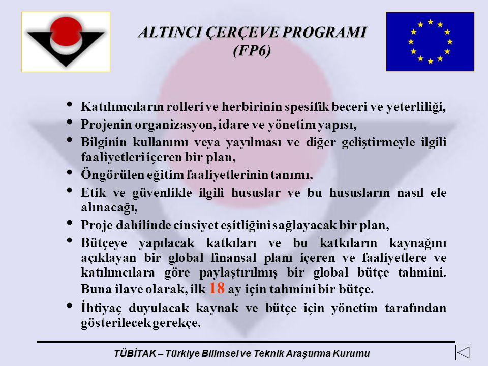 ALTINCI ÇERÇEVE PROGRAMI (FP6) TÜBİTAK – Türkiye Bilimsel ve Teknik Araştırma Kurumu Katılımcıların rolleri ve herbirinin spesifik beceri ve yeterlili