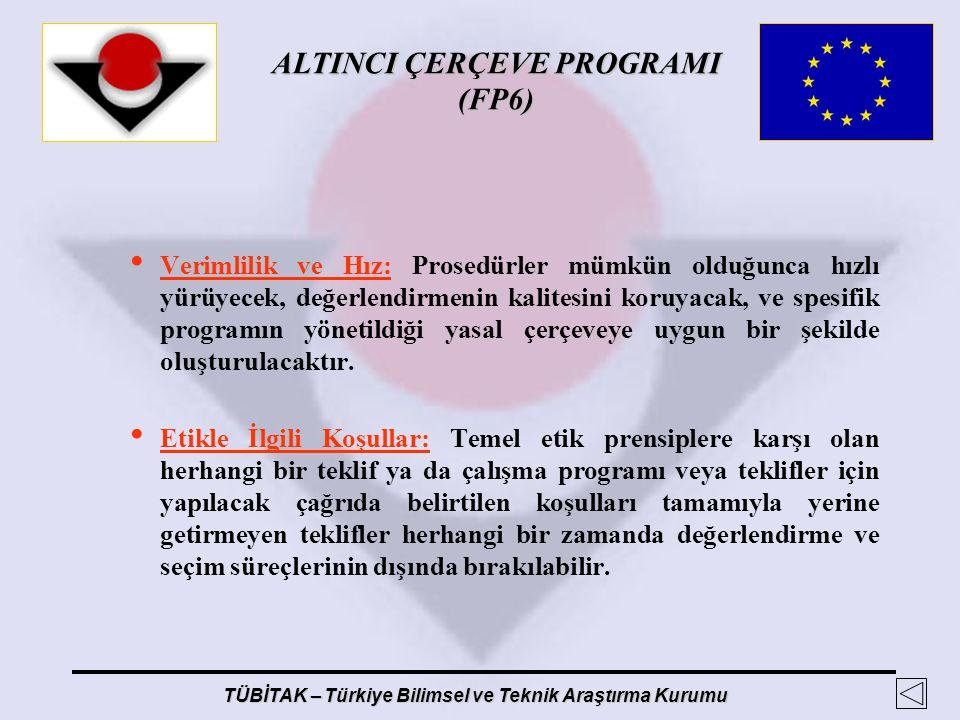 ALTINCI ÇERÇEVE PROGRAMI (FP6) TÜBİTAK – Türkiye Bilimsel ve Teknik Araştırma Kurumu Verimlilik ve Hız: Prosedürler mümkün olduğunca hızlı yürüyecek,