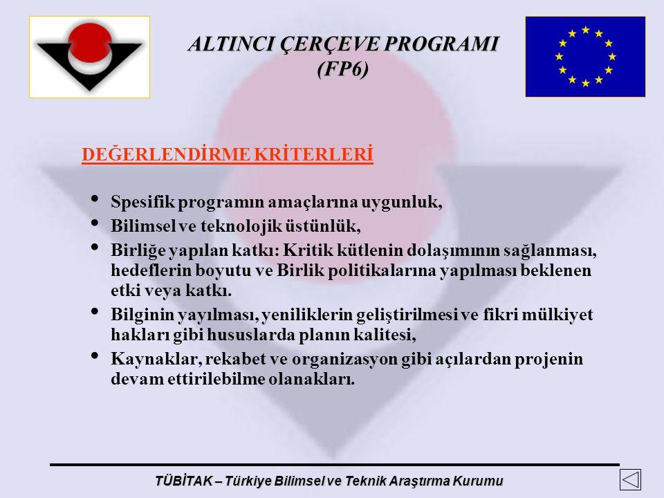 ALTINCI ÇERÇEVE PROGRAMI (FP6) TÜBİTAK – Türkiye Bilimsel ve Teknik Araştırma Kurumu DEĞERLENDİRME KRİTERLERİ Spesifik programın amaçlarına uygunluk,