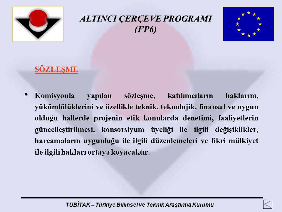 ALTINCI ÇERÇEVE PROGRAMI (FP6) TÜBİTAK – Türkiye Bilimsel ve Teknik Araştırma Kurumu SÖZLEŞME Komisyonla yapılan sözleşme, katılımcıların haklarını, y