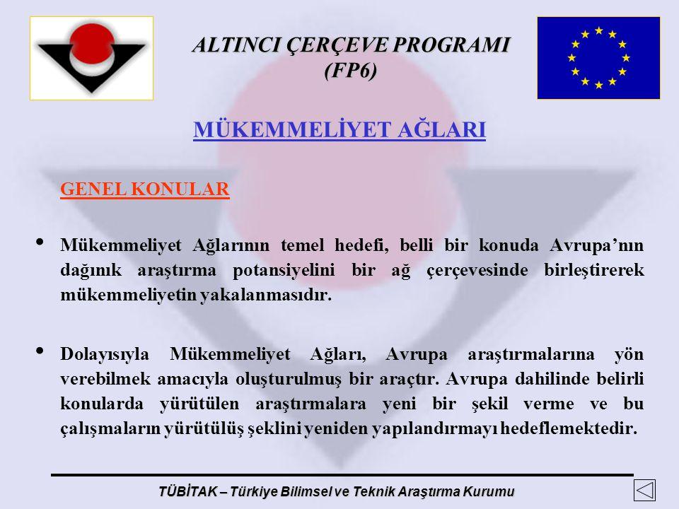 ALTINCI ÇERÇEVE PROGRAMI (FP6) TÜBİTAK – Türkiye Bilimsel ve Teknik Araştırma Kurumu MÜKEMMELİYET AĞLARI GENEL KONULAR Mükemmeliyet Ağlarının temel he