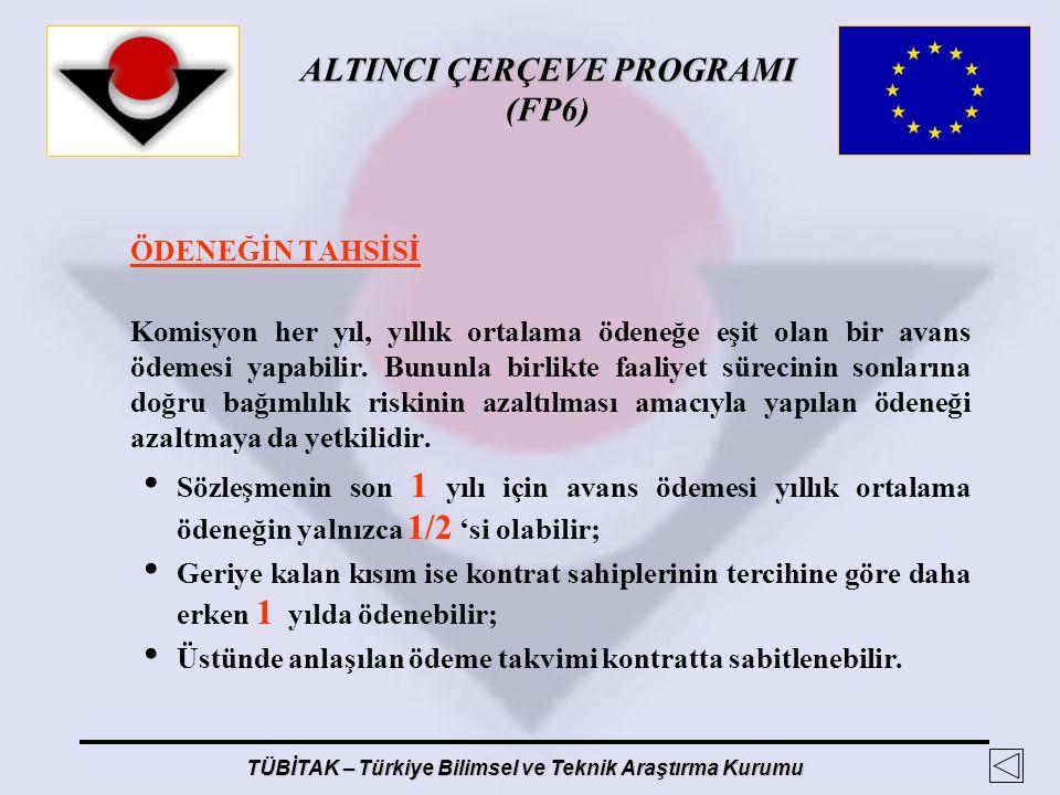ALTINCI ÇERÇEVE PROGRAMI (FP6) TÜBİTAK – Türkiye Bilimsel ve Teknik Araştırma Kurumu ÖDENEĞİN TAHSİSİ Komisyon her yıl, yıllık ortalama ödeneğe eşit o