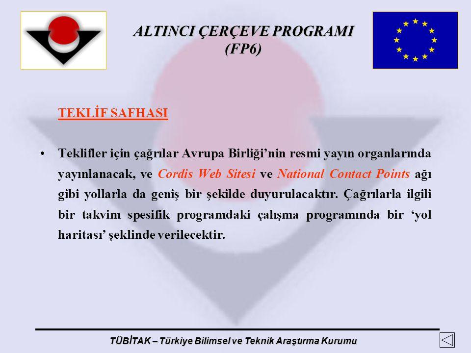 ALTINCI ÇERÇEVE PROGRAMI (FP6) TÜBİTAK – Türkiye Bilimsel ve Teknik Araştırma Kurumu TEKLİF SAFHASI Teklifler için çağrılar Avrupa Birliği'nin resmi y