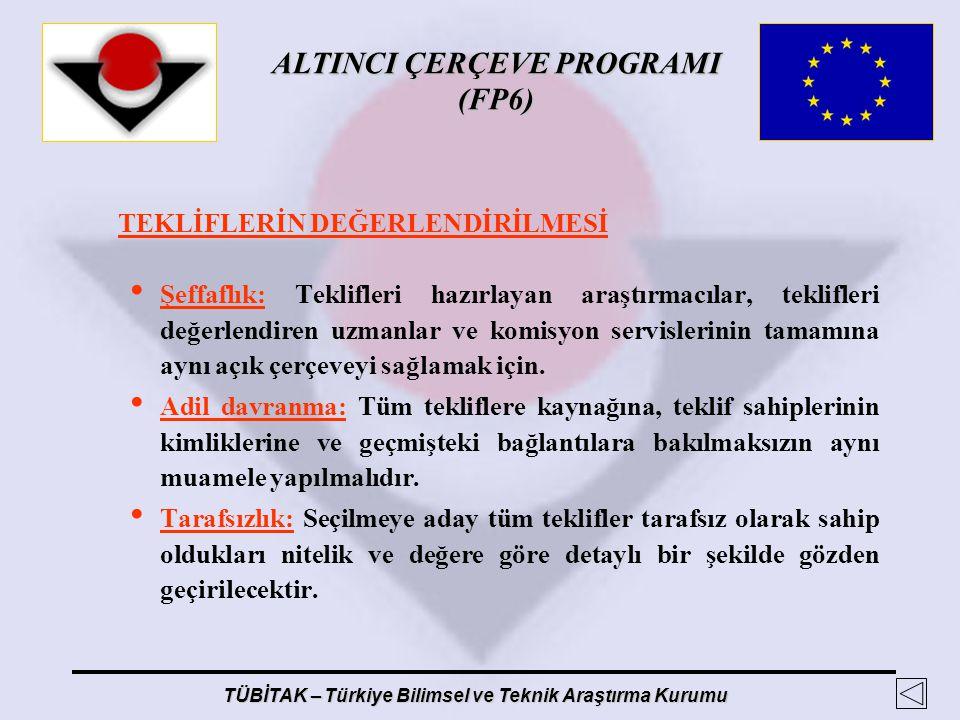 ALTINCI ÇERÇEVE PROGRAMI (FP6) TÜBİTAK – Türkiye Bilimsel ve Teknik Araştırma Kurumu TEKLİFLERİN DEĞERLENDİRİLMESİ Şeffaflık: Teklifleri hazırlayan ar