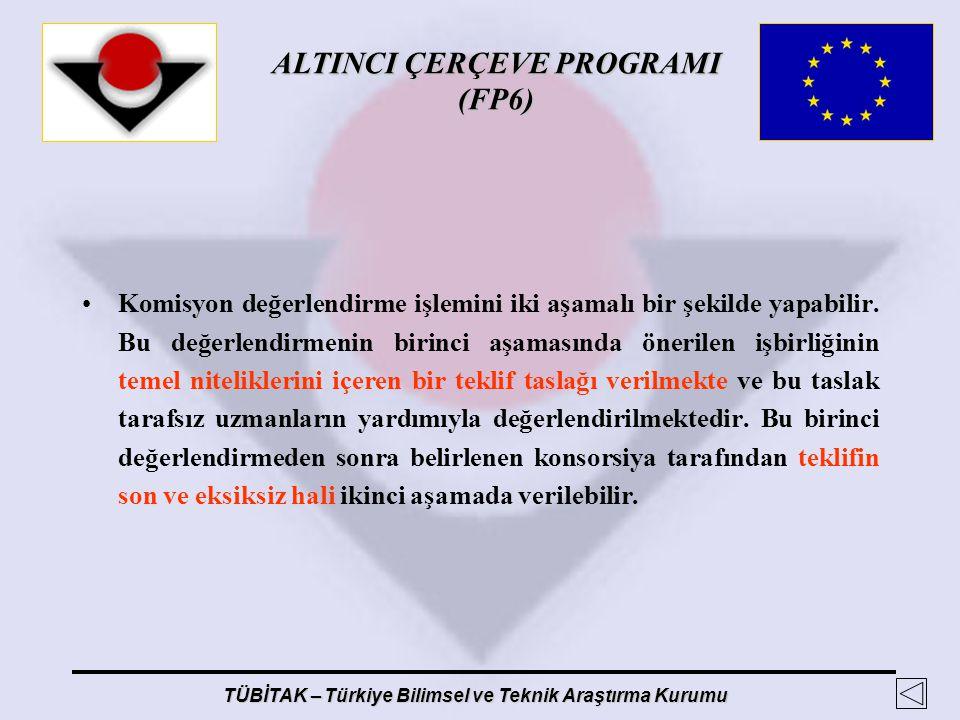 ALTINCI ÇERÇEVE PROGRAMI (FP6) TÜBİTAK – Türkiye Bilimsel ve Teknik Araştırma Kurumu Komisyon değerlendirme işlemini iki aşamalı bir şekilde yapabilir