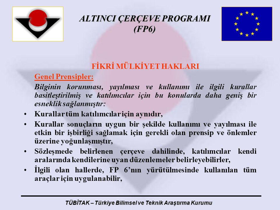 ALTINCI ÇERÇEVE PROGRAMI (FP6) TÜBİTAK – Türkiye Bilimsel ve Teknik Araştırma Kurumu FİKRİ MÜLKİYET HAKLARI Genel Prensipler: Bilginin korunması, yayı