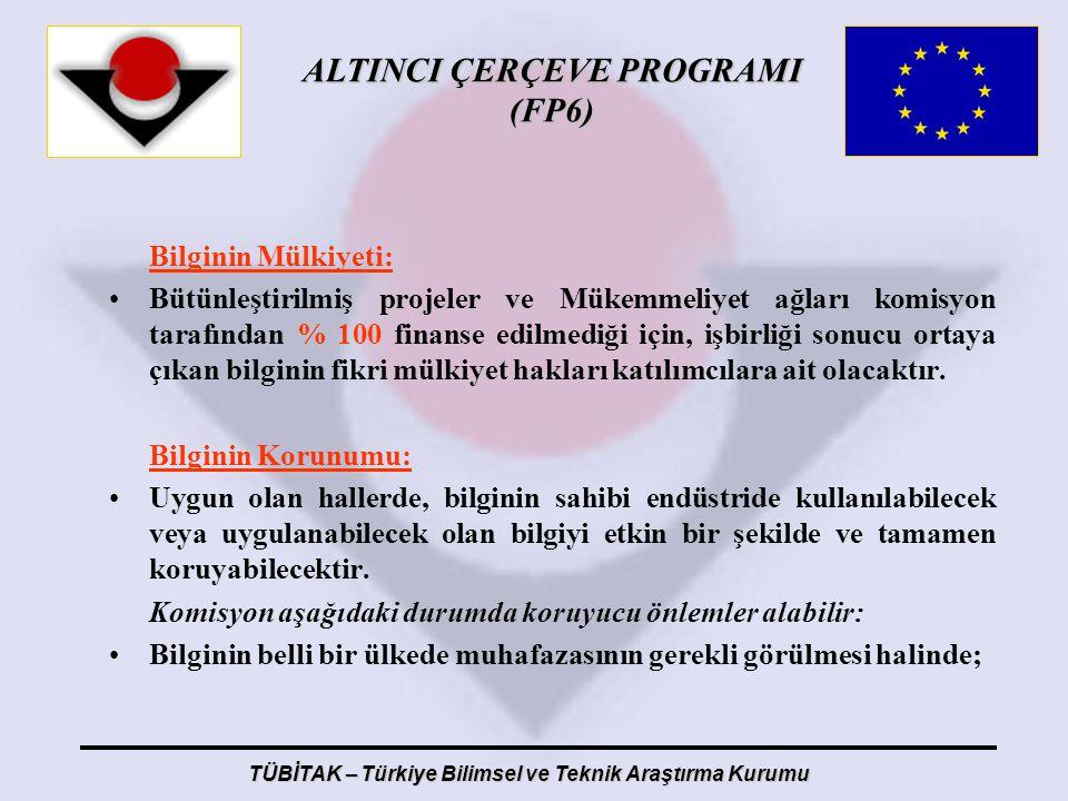 ALTINCI ÇERÇEVE PROGRAMI (FP6) TÜBİTAK – Türkiye Bilimsel ve Teknik Araştırma Kurumu Bilginin Mülkiyeti: Bütünleştirilmiş projeler ve Mükemmeliyet ağl