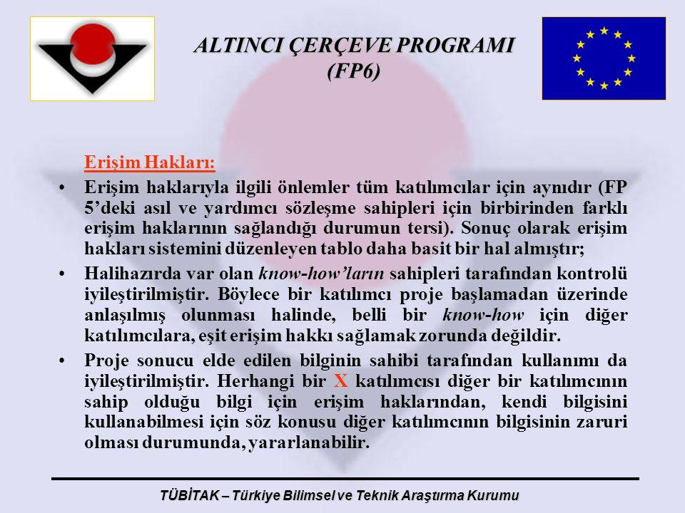 ALTINCI ÇERÇEVE PROGRAMI (FP6) TÜBİTAK – Türkiye Bilimsel ve Teknik Araştırma Kurumu Erişim Hakları: Erişim haklarıyla ilgili önlemler tüm katılımcıla