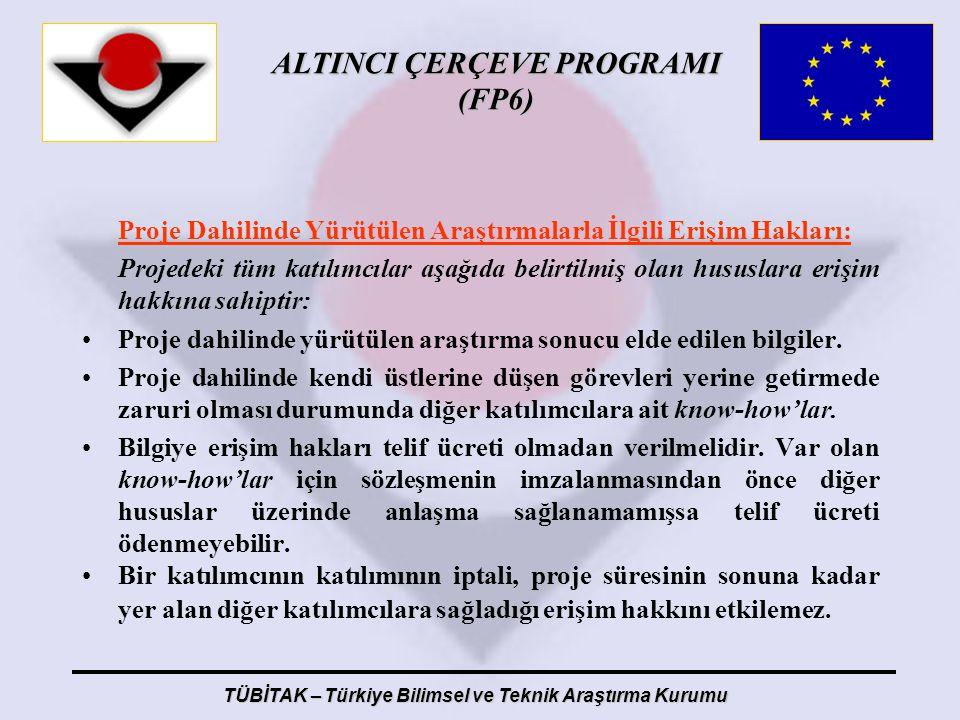 ALTINCI ÇERÇEVE PROGRAMI (FP6) TÜBİTAK – Türkiye Bilimsel ve Teknik Araştırma Kurumu Proje Dahilinde Yürütülen Araştırmalarla İlgili Erişim Hakları: P