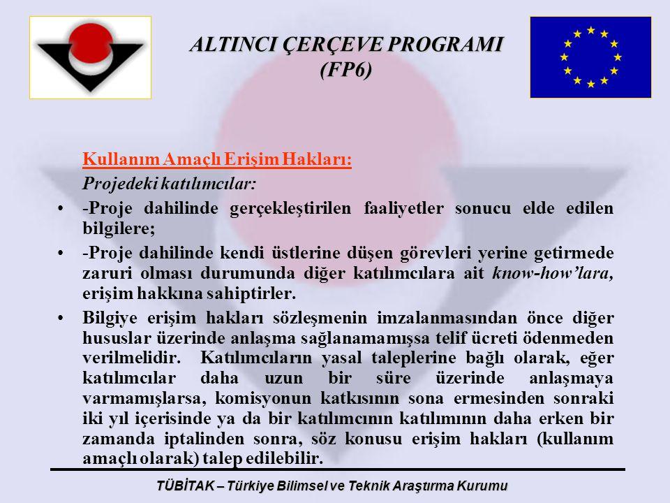 ALTINCI ÇERÇEVE PROGRAMI (FP6) TÜBİTAK – Türkiye Bilimsel ve Teknik Araştırma Kurumu Kullanım Amaçlı Erişim Hakları: Projedeki katılımcılar: -Proje da