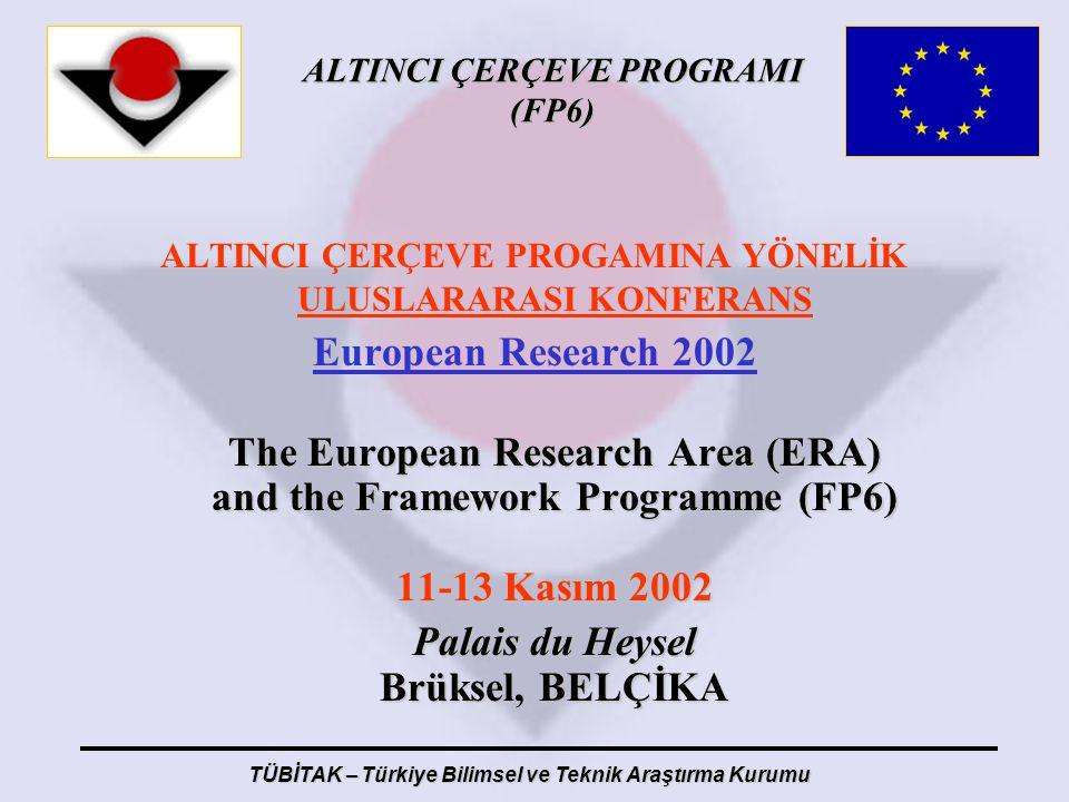 ALTINCI ÇERÇEVE PROGRAMI (FP6) TÜBİTAK – Türkiye Bilimsel ve Teknik Araştırma Kurumu ALTINCI ÇERÇEVE PROGAMINA YÖNELİK ULUSLARARASI KONFERANS European