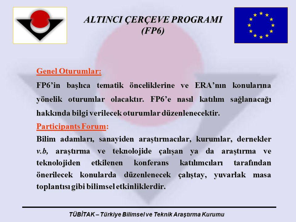 ALTINCI ÇERÇEVE PROGRAMI (FP6) TÜBİTAK – Türkiye Bilimsel ve Teknik Araştırma Kurumu Genel Oturumlar: FP6'in başlıca tematik önceliklerine ve ERA'nın