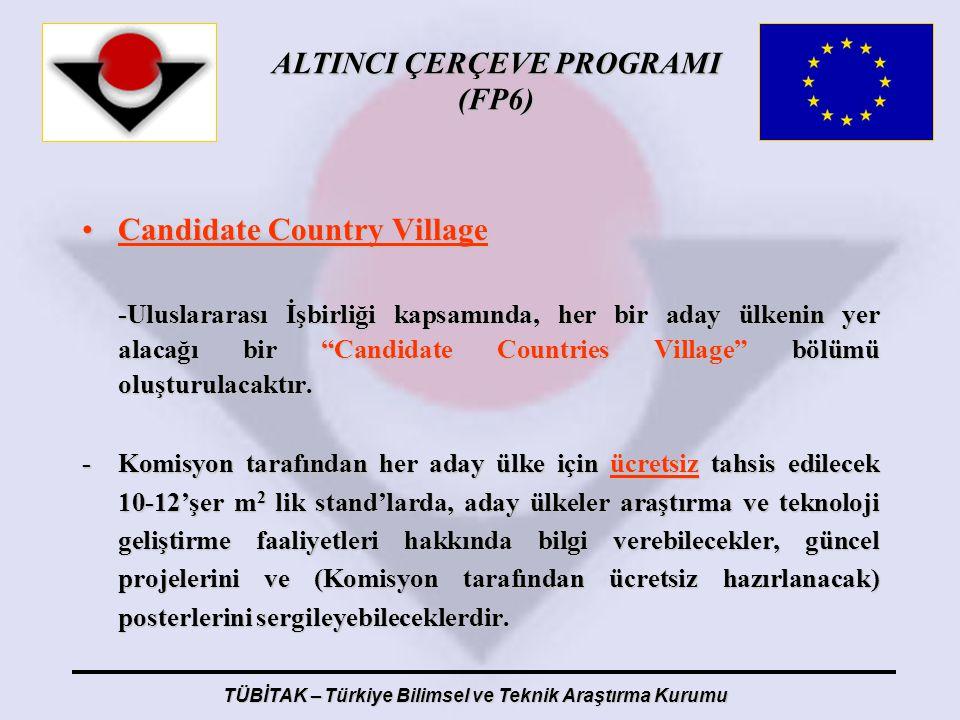 ALTINCI ÇERÇEVE PROGRAMI (FP6) TÜBİTAK – Türkiye Bilimsel ve Teknik Araştırma Kurumu Candidate Country VillageCandidate Country Village -Uluslararası