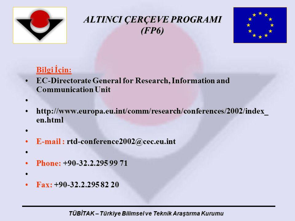 ALTINCI ÇERÇEVE PROGRAMI (FP6) TÜBİTAK – Türkiye Bilimsel ve Teknik Araştırma Kurumu Bilgi İçin: EC-Directorate General for Research, Information and