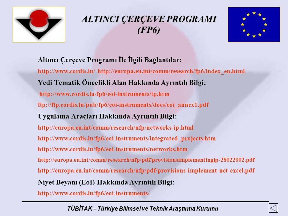 ALTINCI ÇERÇEVE PROGRAMI (FP6) TÜBİTAK – Türkiye Bilimsel ve Teknik Araştırma Kurumu Altıncı Çerçeve Programı İle İlgili Bağlantılar: http://www.cordi