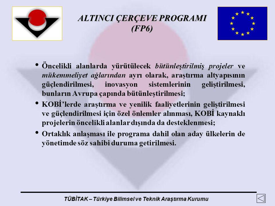 ALTINCI ÇERÇEVE PROGRAMI (FP6) TÜBİTAK – Türkiye Bilimsel ve Teknik Araştırma Kurumu Öncelikli alanlarda yürütülecek bütünleştirilmiş projeler ve müke
