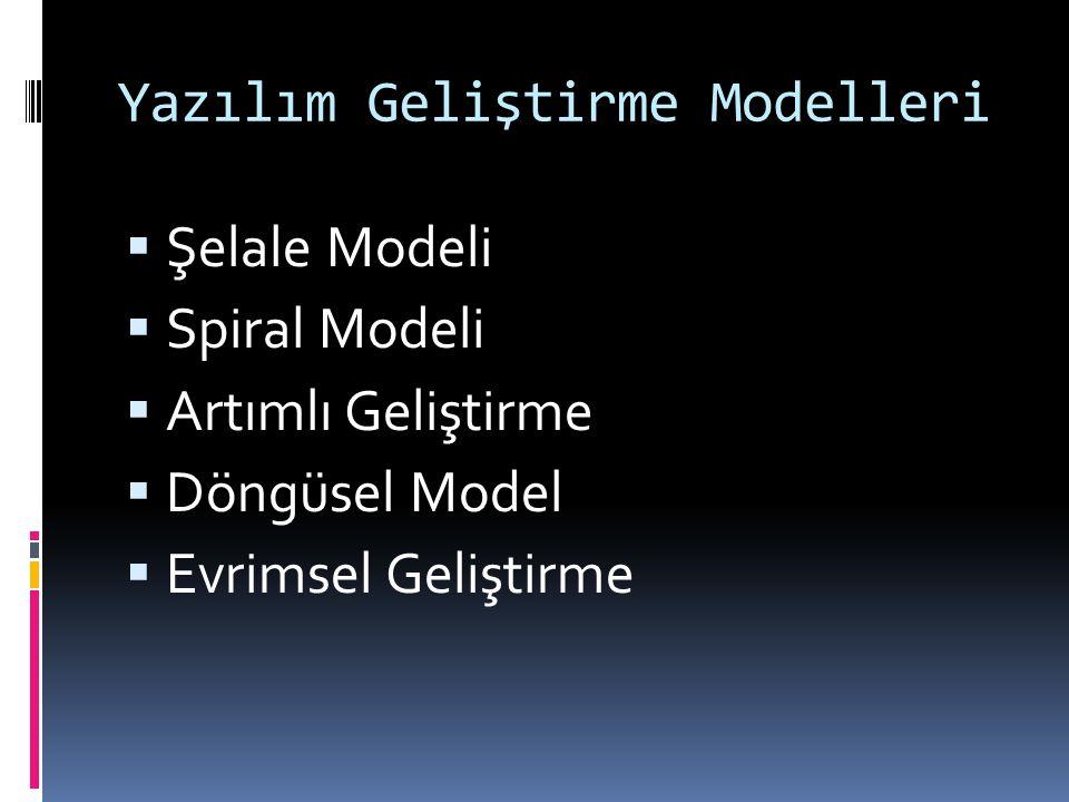 Yazılım Geliştirme Modelleri  Şelale Modeli  Spiral Modeli  Artımlı Geliştirme  Döngüsel Model  Evrimsel Geliştirme