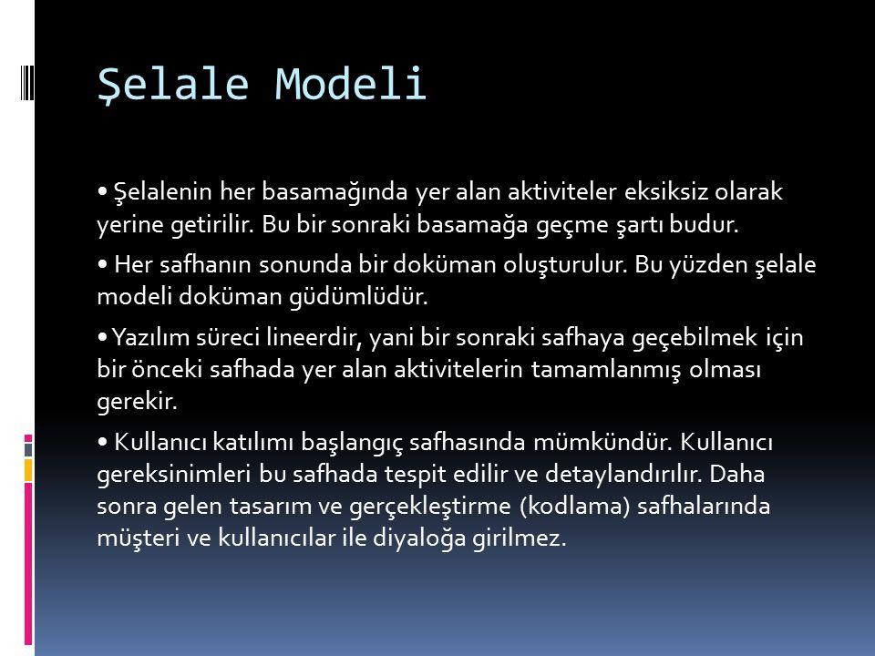 Şelale Modeli Şelalenin her basamağında yer alan aktiviteler eksiksiz olarak yerine getirilir. Bu bir sonraki basamağa geçme şartı budur. Her safhanın