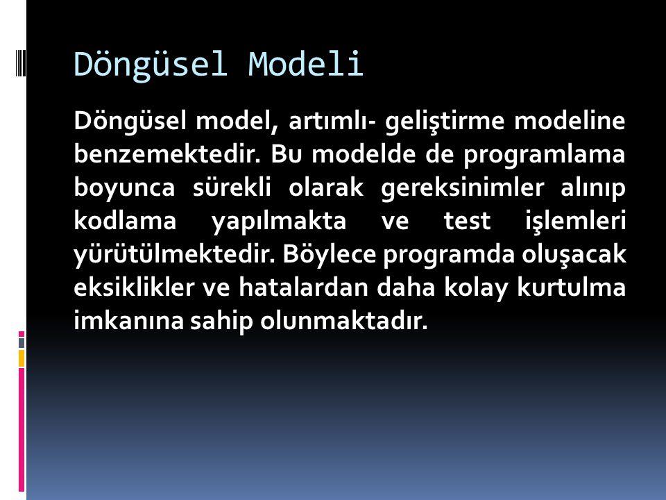 Döngüsel Modeli Döngüsel model, artımlı- geliştirme modeline benzemektedir. Bu modelde de programlama boyunca sürekli olarak gereksinimler alınıp kodl