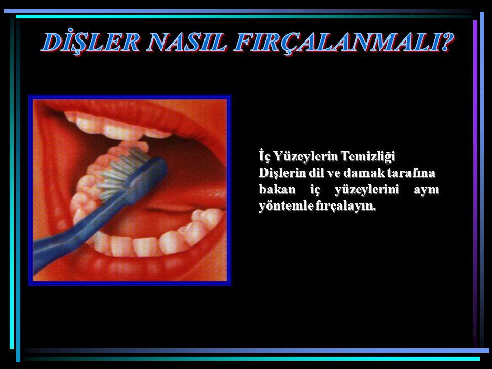 İç Yüzeylerin Temizliği Dişlerin dil ve damak tarafına bakan iç yüzeylerini aynı yöntemle fırçalayın.