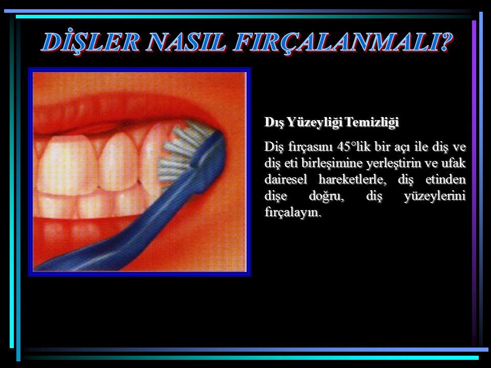 Dış Yüzeyliği Temizliği Diş fırçasını 45°lik bir açı ile diş ve diş eti birleşimine yerleştirin ve ufak dairesel hareketlerle, diş etinden dişe doğru, diş yüzeylerini fırçalayın.