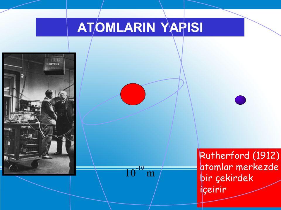 ATOMLARIN YAPISI Rutherford (1912) atomlar merkezde bir çekirdek içeirir 10 -10 m