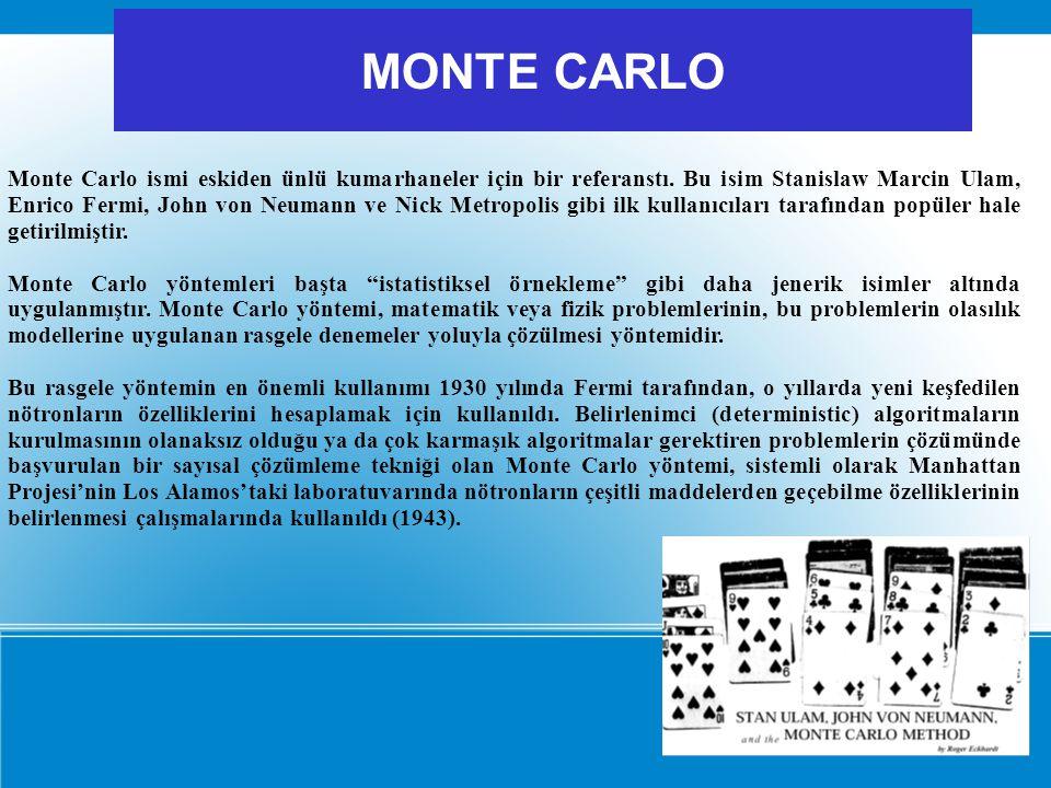 Monte Carlo ismi eskiden ünlü kumarhaneler için bir referanstı. Bu isim Stanislaw Marcin Ulam, Enrico Fermi, John von Neumann ve Nick Metropolis gibi