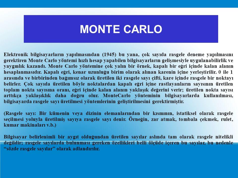 Elektronik bilgisayarların yapılmasından (1945) bu yana, çok sayıda rasgele deneme yapılmasını gerektiren Monte Carlo yöntemi hızlı hesap yapabilen bi