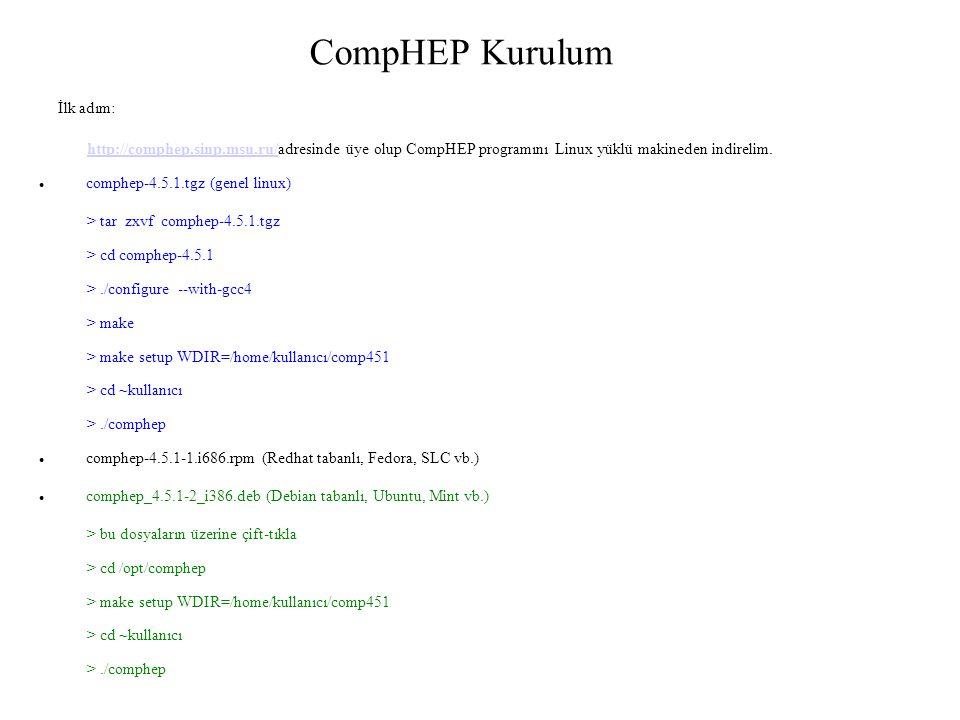 CompHEP Kurulum İlk adım: http://comphep.sinp.msu.ru/http://comphep.sinp.msu.ru/adresinde üye olup CompHEP programını Linux yüklü makineden indirelim.