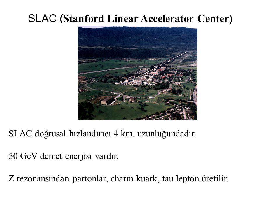 SLAC ( Stanford Linear Accelerator Center ) SLAC doğrusal hızlandırıcı 4 km. uzunluğundadır. 50 GeV demet enerjisi vardır. Z rezonansından partonlar,