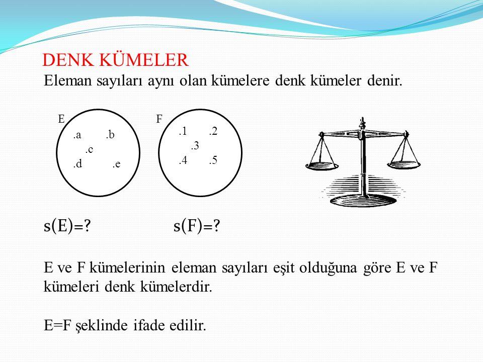 DENK KÜMELER Eleman sayıları aynı olan kümelere denk kümeler denir. s(E)=? s(F)=? E ve F kümelerinin eleman sayıları eşit olduğuna göre E ve F kümeler