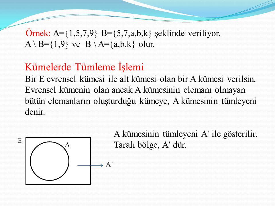 Örnek: A={1,5,7,9} B={5,7,a,b,k} şeklinde veriliyor. A \ B={1,9} ve B \ A={a,b,k} olur. Kümelerde Tümleme İşlemi Bir E evrensel kümesi ile alt kümesi