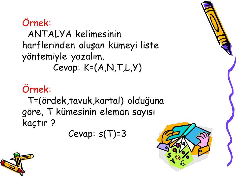 Örnek: ANTALYA kelimesinin harflerinden oluşan kümeyi liste yöntemiyle yazalım. Cevap: K=(A,N,T,L,Y) Örnek: T=(ördek,tavuk,kartal) olduğuna göre, T kü