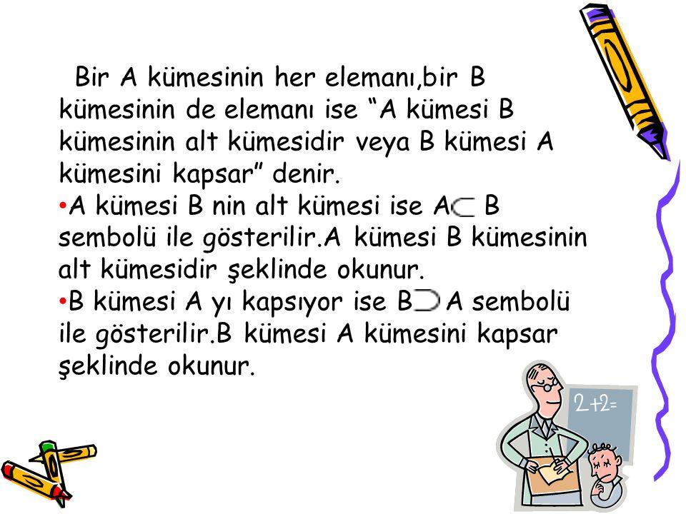"""Bir A kümesinin her elemanı,bir B kümesinin de elemanı ise """"A kümesi B kümesinin alt kümesidir veya B kümesi A kümesini kapsar"""" denir. A kümesi B nin"""