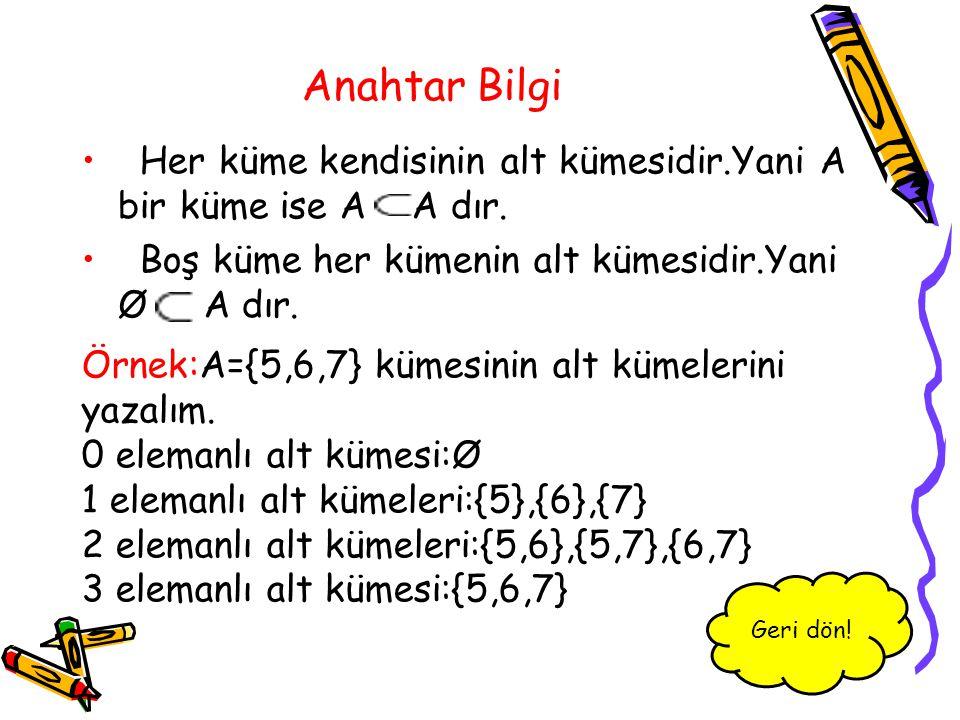 Anahtar Bilgi Her küme kendisinin alt kümesidir.Yani A bir küme ise A A dır. Boş küme her kümenin alt kümesidir.Yani Ø A dır. Örnek:A={5,6,7} kümesini