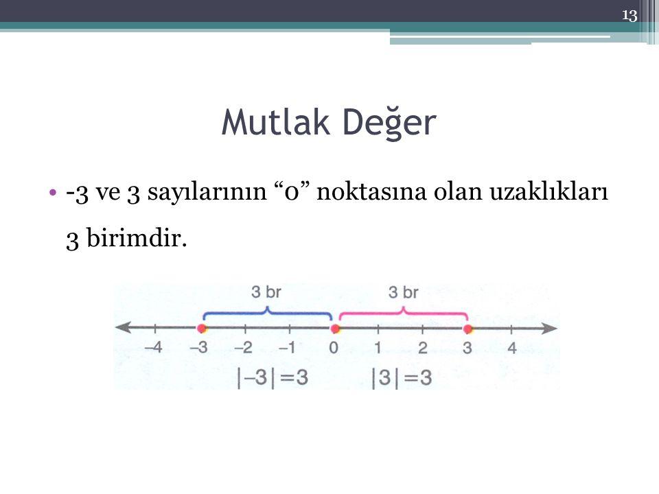 """Mutlak Değer 13 -3 ve 3 sayılarının """"0"""" noktasına olan uzaklıkları 3 birimdir."""